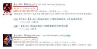 《星球大战7》和《星球大战8》的评分都不如前六部 图片来源:豆瓣电影截图