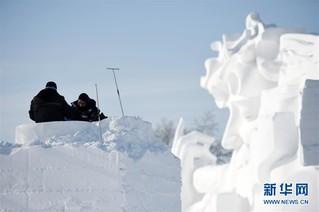 (社会)(7)哈尔滨:国际雪雕比赛开铲