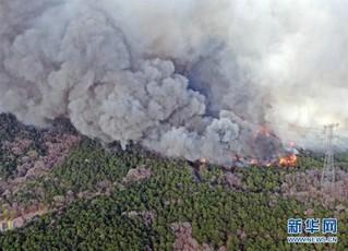 新华社发(许丛军 摄) 4月17日无人机拍摄的沈阳棋盘山火灾现场.