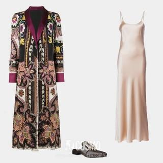 Etro reversible robe coat, ,340, farfetch.com; Voz liquid slip dress, 5, farfetch.com; Dorateymur Petrol mules, ,030, farfetch.com