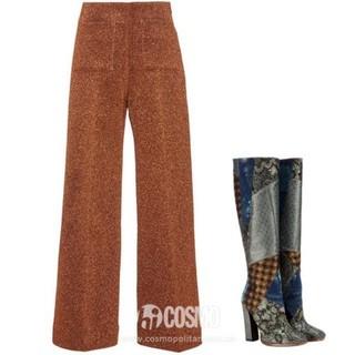 Isa Arfen copper Lurex slim culottes, 3, modaoperandi.com; Etro metallic jacquard knee-high boots, ,950, mytheresa.com