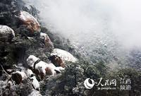 """一场春雪过后,江西省上饶市灵山风景区披上了""""白色外衣""""。"""
