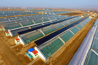 这是3月21日拍摄的山西省天镇县同煤光伏扶贫电站一角。