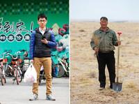 """左图为3月17日,北京大学药学院天然药物学系研究生王金龙在学校的超市,通过支付宝移动支付购买了一袋生活用品,这意味着他在""""蚂蚁森林""""里的""""能量""""又增加一些;右图为3月19日,生活在内蒙古阿拉善盟希勃图嘎查的聂玉胜在自家牧场种植梭梭。因为""""蚂蚁森林"""",身处都市的王金龙将自己践行的环保生活方式转化成一棵棵实体的梭梭,由远在数千公里之外的聂玉胜种植在自家牧场,成为对抗沙漠的""""卫士""""。"""