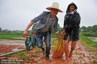 2017年6月25日,江西省铅山县新滩乡党员干部在该乡杨家村抢修加固险情山塘。丁铭华 摄
