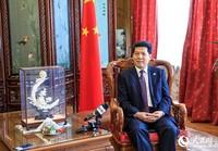 中国驻俄大使李辉接受中俄媒体联合采访(人民网记者 屈海齐 摄)