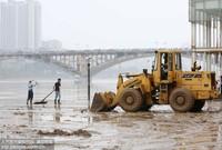8月15日,在珠江上游融江广西柳州市融安县城段河堤,铲车在清理淤泥。