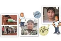 减肥前的吴秀扬220斤。   甩肉51斤后,小伙精神多了。