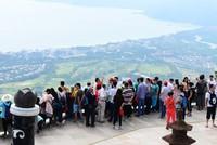 1月6日周末,中外游客在三亚亚龙湾热带天堂森林旅游区参观游览的情景。(黄庆优摄)