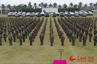 全军开训动员大会上的武警海南总队官兵