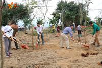 干部群众一起在南罗村植树种花