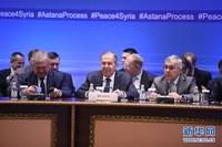 3月16日,在哈萨克斯坦首都阿斯塔纳,俄罗斯外长拉夫罗夫(前中)出席俄罗斯、土耳其和伊朗三国外长就叙利亚问题举行的会谈。