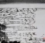 童中焘 平湖秋月 中国画 26×26cm