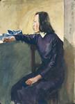 艺专女学生 赵宜明 1948年  纸本水彩 35X25cm