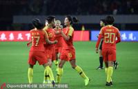 中国女足队员庆祝进球