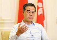 8月14日,全国政协副主席梁振英在香港接受记者采访。新华社记者 吴晓初 摄