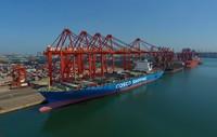 8月15日,轮船靠泊在唐山港京唐港区码头装卸货物(无人机拍摄)。