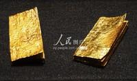 """9月10日,杭州清河坊西出土的南宋时期的""""阮六郎铺一两金册""""。"""