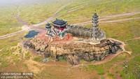 2020年1月5日,航拍鄱阳湖庐山市千年石岛落星墩古建筑。