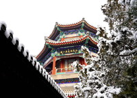 1月6日拍摄的颐和园雪景。