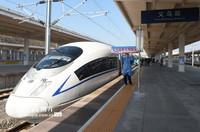 2月20日下午,从安徽阜阳出发的G9413次列车驶入义乌站。