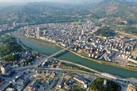 这是广西环江毛南族自治县县城风貌(5月14日摄,无人机照片)。