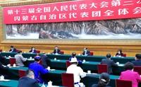 5月22日,中共中央总书记、国家主席、中央军委主席习近平参加十三届全国人大三次会议内蒙古代表团的审议。 新华社记者 谢环驰 摄