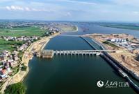 航拍镜头下的江西信江八字嘴航电枢纽(东大河)工程(徐鹏超/摄)