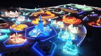 这是12月24日拍摄的哈尔滨冰雪大世界园区一角(无人机照片)。新华社记者 王建威 摄