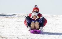 12月30日,市民们在东郊体育公园玩雪橇。