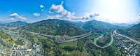 1月1日,航拍仁沐新高速公路马边支线马边出口段。(全景图)