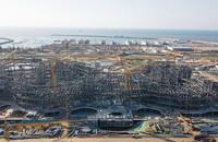 这是2021年1月1日拍摄的施工中的海口国际免税城项目免税商业中心(无人机照片)。