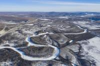 1月11日拍摄的漠河九曲十八湾风景区(无人机照片)。