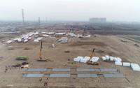 这是1月14日拍摄的石家庄市集中隔离点建设施工现场(无人机照片)。