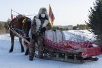 1月13日,当地村民在北极村等待游客乘坐马拉爬犁。