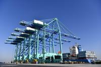 1月17日拍摄的天津港北疆港区C段智能化集装箱码头一号泊位。