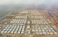 1月18日拍摄的石家庄黄庄公寓隔离场所项目工地(无人机照片)。