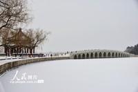 2021年1月19日,北京颐和园沉浸在银装素裹的白雪世界里。