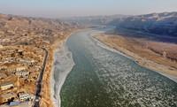 1月19日拍摄的黄河陕西榆林佳县段冰凌(无人机照片)。