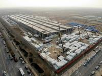 1月19日拍摄的位于河北南宫经济开发区的隔离场所项目建设现场(无人机照片)。