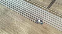 新疆喀什地区巴楚县农民在使用机械进行春播(3月28日摄,无人机照片)。新华社记者 马锴 摄