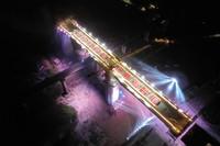 4月7日拍摄的陈家庄清水河双线特大桥转体成功后的姿态(无人机照片)。