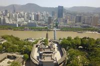 这是5月8日拍摄的黄河兰州段景色(无人机照片)。