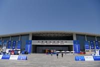 这是5月18日拍摄的天津梅江会展中心外景。