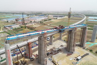 位于河北省唐山市境内的京唐铁路七标段施工现场(5月23日摄,无人机照片)。