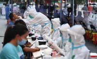 5月27日,在廣州荔灣區廣鋼新城核酸臨時采集點,南方醫科大學南方醫院的醫務人員進行核酸檢測采樣。