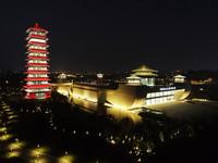 6月8日拍攝的揚州中國大運河博物館夜景(無人機照片)。新華社發(孟德龍 攝)
