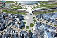 2021-10-27拍摄的张家口市崇礼区太子城冰雪小镇内的冬奥颁奖广场(无人机照片)。