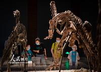 2021-10-27,家长带着孩子在南京博物院观看展出的恐龙化石。