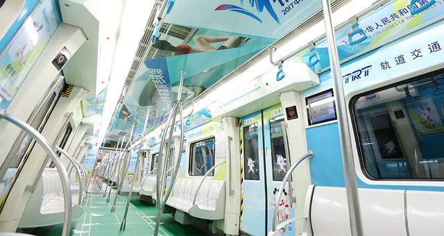 第十三届全运会主题地铁列车亮相天津